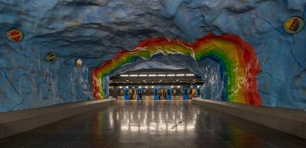 Metrô da Suécia tem a maior galeria de arte do mundo (Foto: Pinterest/Reprodução)