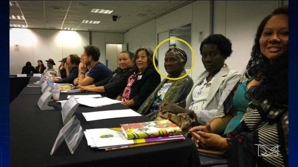 Em Brasília, 'dona Dijé' foi empossada como conselheira dos povos e comunidades tradicionais. — Foto: Reprodução/TV Mirante