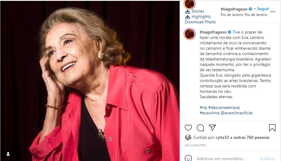 Thiago Fragoso se despede de Eva Wilma (Foto: Reprodução Instagram)
