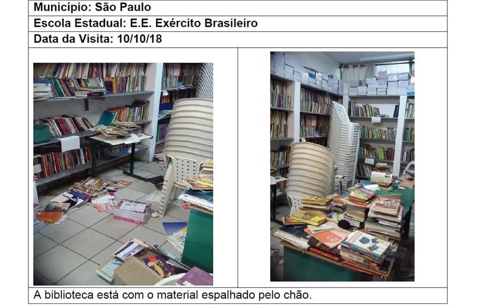 Imagem do relatório mostra situação de biblioteca de escola em São Paulo — Foto: Reprodução