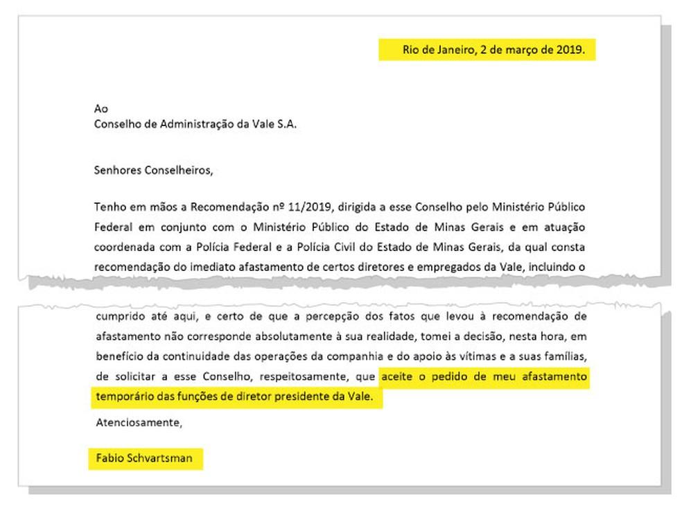 Carta Fabio Schvartsman  — Foto: Arte G1