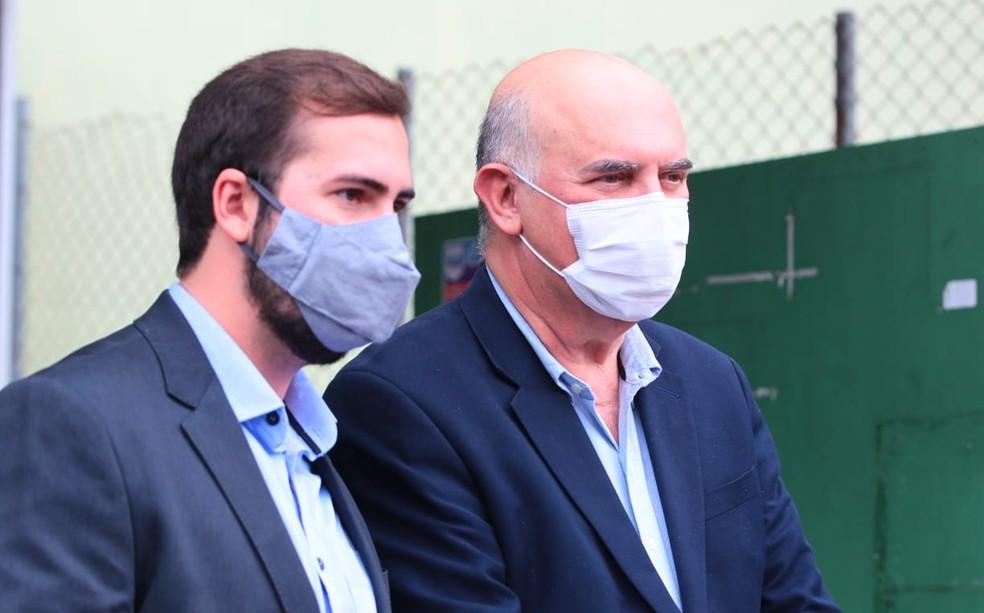 Ministro foi acompanhado pelo prefeito Kayo Amado durante visita a São Vicente, SP — Foto: Alexsander Ferraz/Jornal A Tribuna