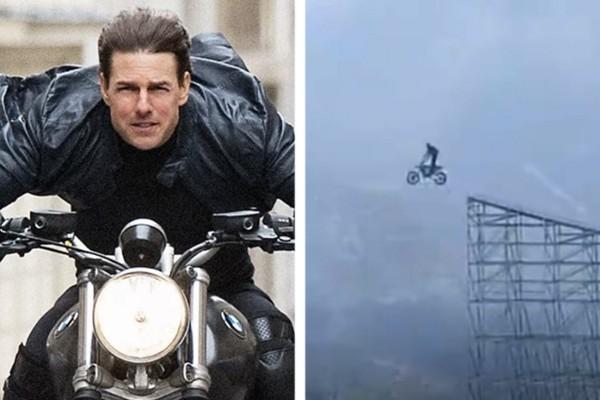 À esquerda: O ator Tom Cruise em cena de Missão Impossível – Efeito Fallout (2018); à direita, bastidores de Missão: Impossível 7 (Foto: Divulgação ; reprodução)