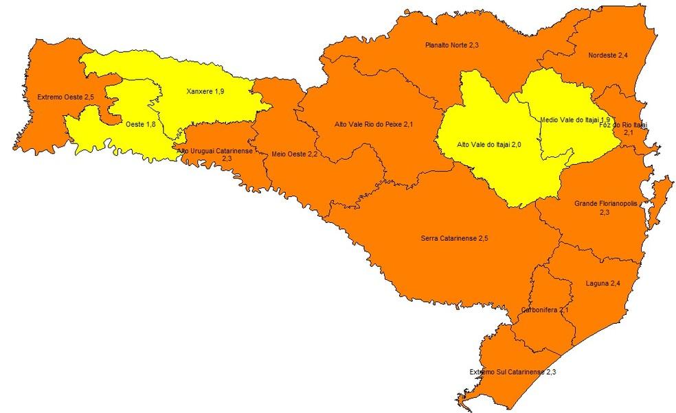 Mapa de risco da Covid-19 em SC - atualização de 15 de outubro — Foto: Reprodução/Governo de Santa Catarina