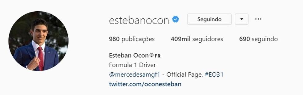 """Esteban Ocon tirou a inscrição """"Piloto reserva da Mercedes"""" das redes sociais — Foto: Reprodução"""