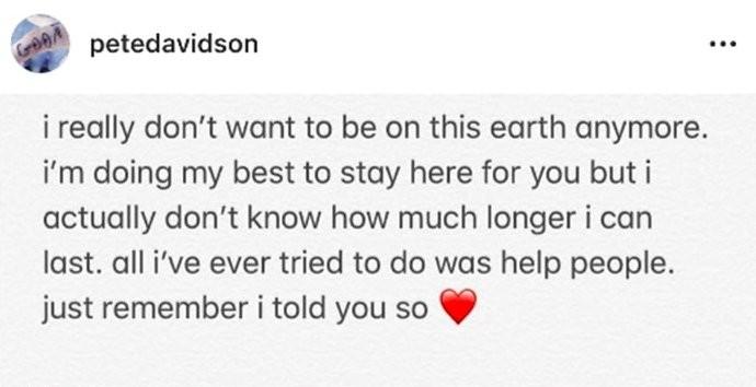 A mensagem de Pete Davidson com teor suicida que deixou os fãs do comediante preocupados (Foto: Instagram)