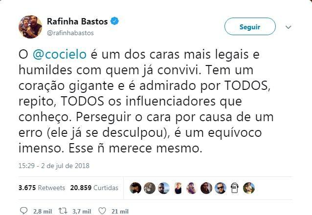 Tuíte de Rafinha Bastos em defesa de Julio Cocielo (Foto: reprodução )
