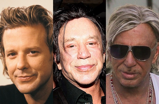 Mickey Rourke nos anos 1980, em 2016 e em 2017 (Foto: Getty Images e BackGrid)