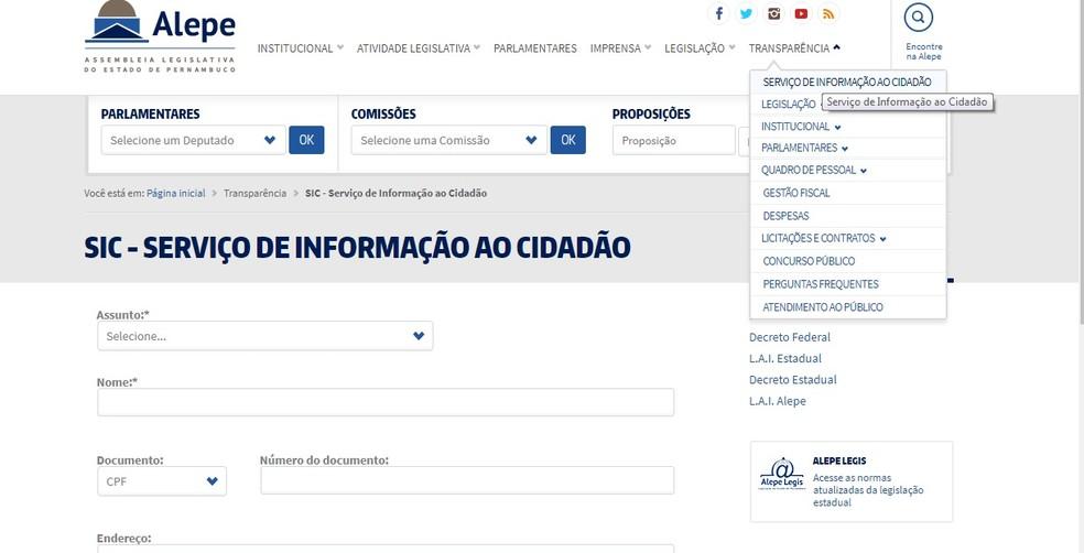 Portal da Transparência da Alepe pode ser acessado a partir do site do legislativo (Foto: Reprodução/Alepe)