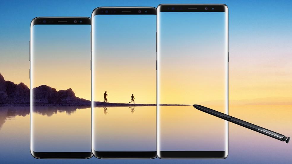 Comparação de tamanho entre Galaxy S8, o Galaxy S8+ e o Galaxy Note 8 (Foto: Divulgação)