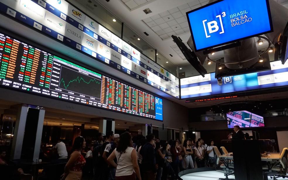 Imagem do interior da B3, Bolsa de Valores de SP — Foto: Cris Faga/Estadão Conteúdo