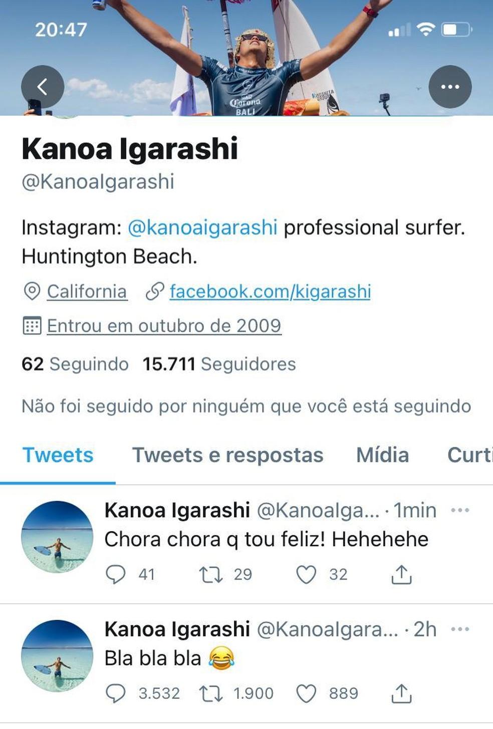 Kanoa Igarashi ironiza reclamações de Gabriel Medina — Foto: Reprodução
