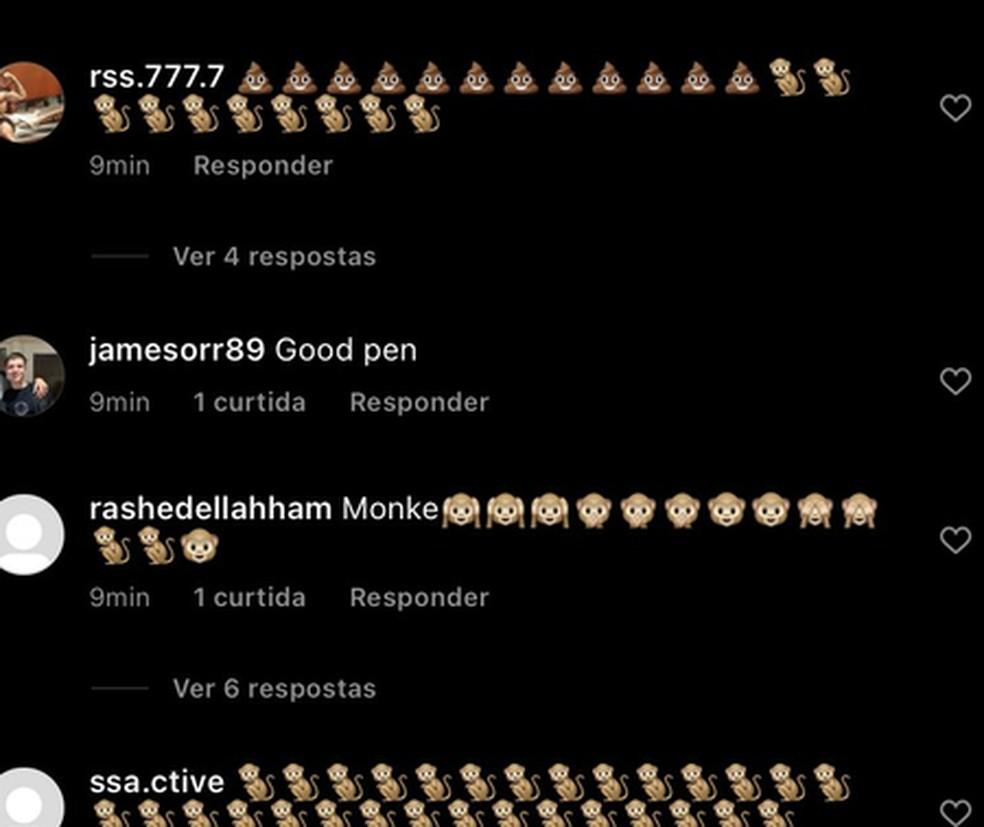 Comentários racistas no Instagram de Saka. (Reprodução/Instagram)