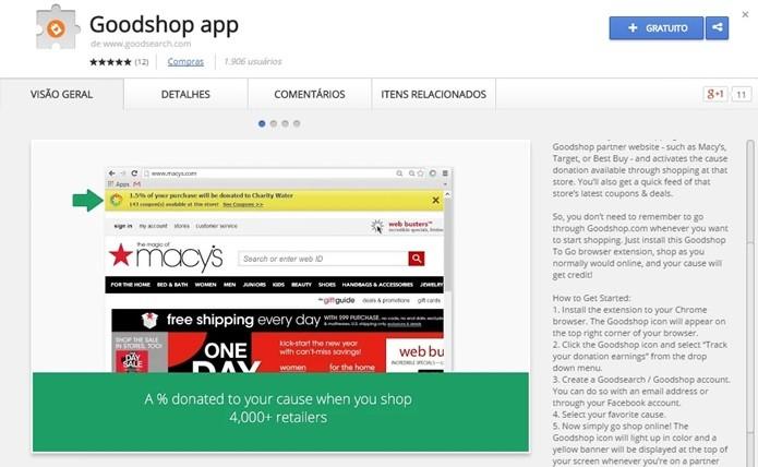 Goodshop conta com mais de 4 mil lojas onde é possível fazer compras e doar parte para causas importantes para usuário (Foto: Reprodução/Chrome Web Store)