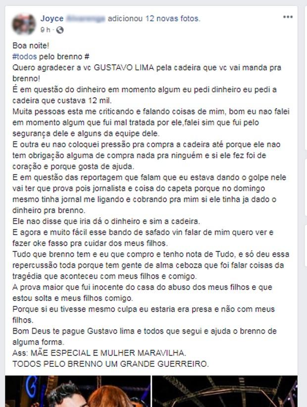 Texto de Joyce após vídeos de Gusttavo Lima (Foto: Reprodução/Instagram)