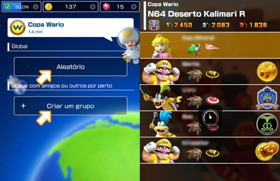 No modo multiplayer de Mario Kart Tour é possível jogar com outros pilotos online ou com amigos localmente — Foto: Reprodução/Rafael Monteiro