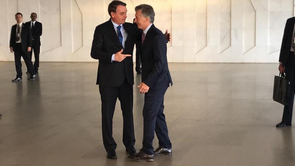 Bolsonaro oferece almoço no Palácio do Itamaraty ao presidente da Argentina, Mauricio Macri, após reuniões de trabalho — Foto: Luiz Felipe Barbiéri, G1