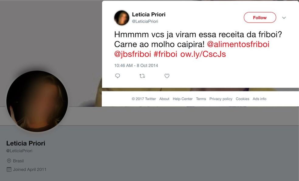Perfil que usa foto de mulher morta elogia o frigorífico Friboi (Foto: Reprodução, Twitter)