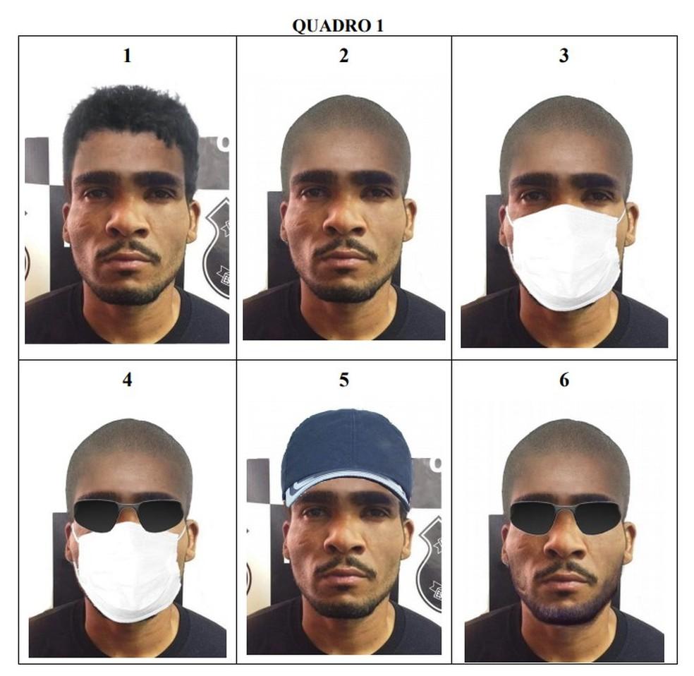 Projeções de disfarces de Lázaro Barbosa, feitas pela Polícia Civil do DF — Foto: PCDF/Divulgação