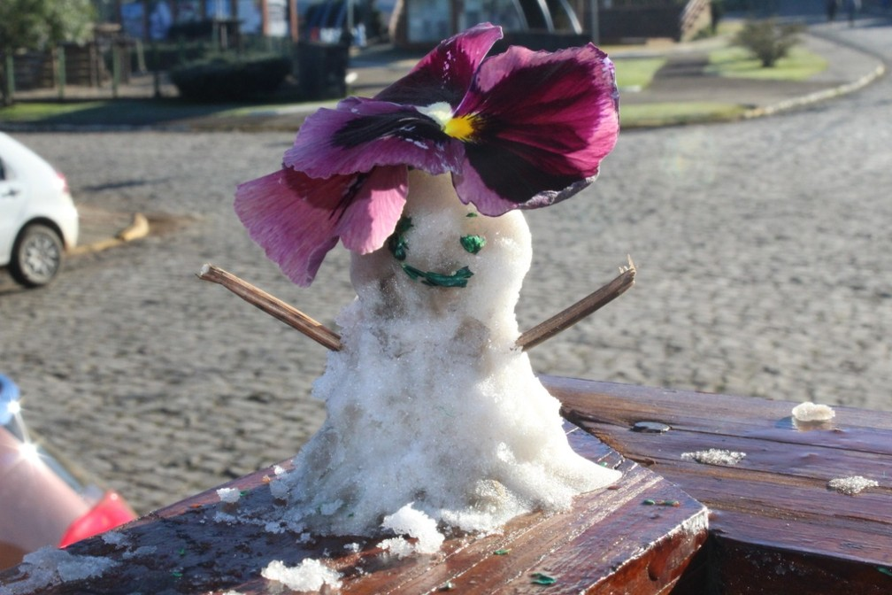Boneco de geada em Urupema — Foto: Marleno Muniz Farias/Prefeitura de Urupema