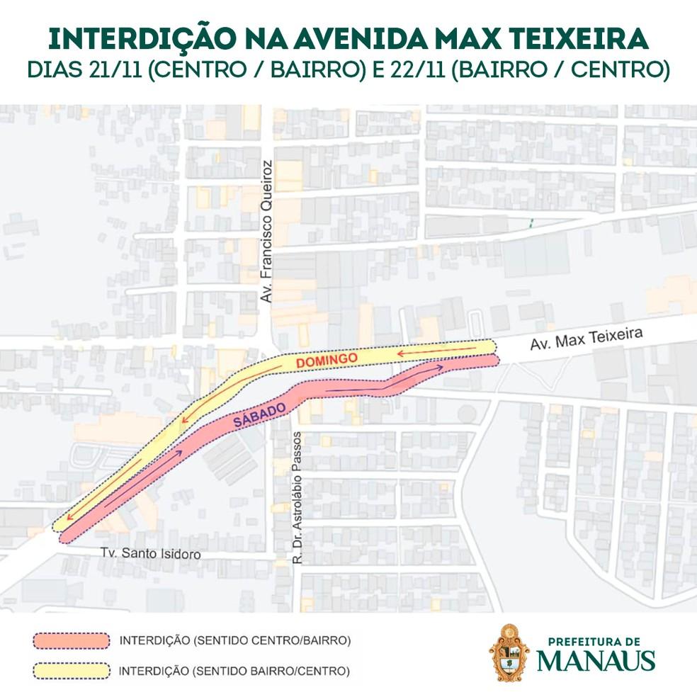 Interdição da Avenida Max Teixeira, em Manaus. — Foto: Prefeitura de Manaus