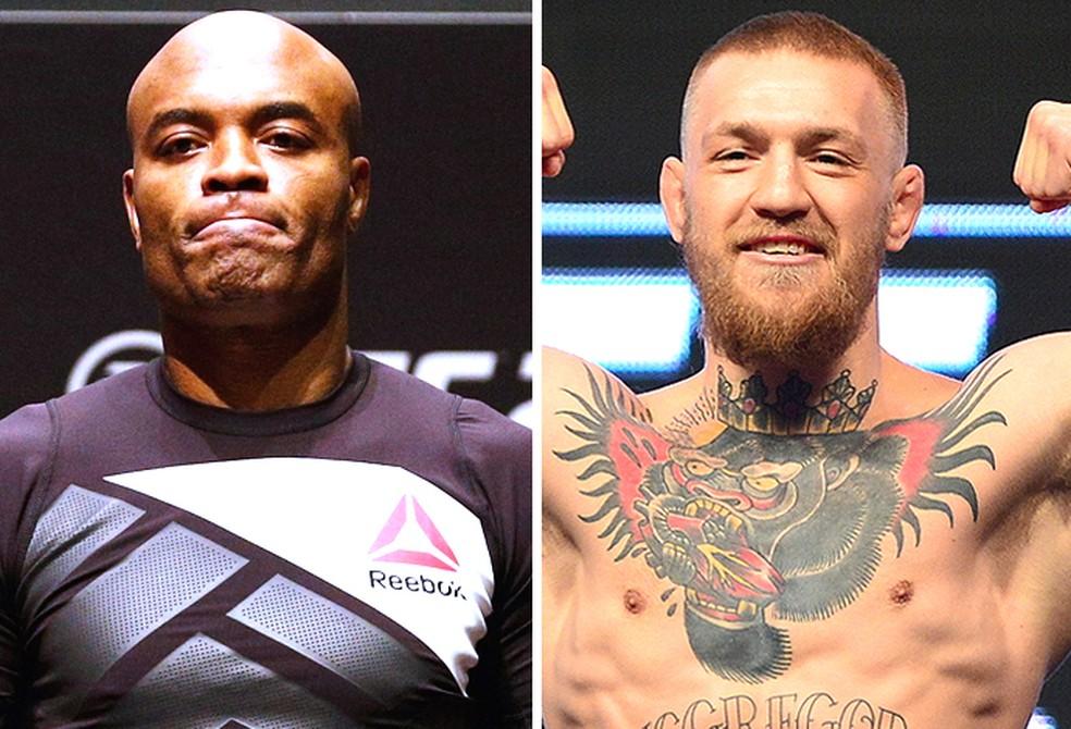 Anderson Silva voltou a desafiar Conor McGregor para uma superluta no UFC — Foto: Editoria de Arte