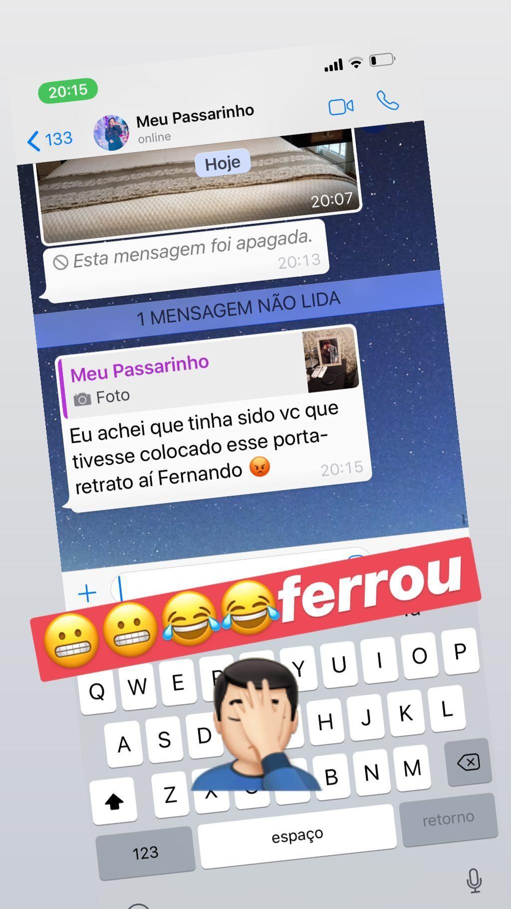 Fernando mostra troca de mensagem com Maiara (Foto: Reprodução)