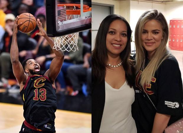 Tristan Thompson durante o jogo do Cleveland Cavaliers e Khloe Kardashina com Sianez Johnson (Foto: Gety Images e Reprodução Twitter)