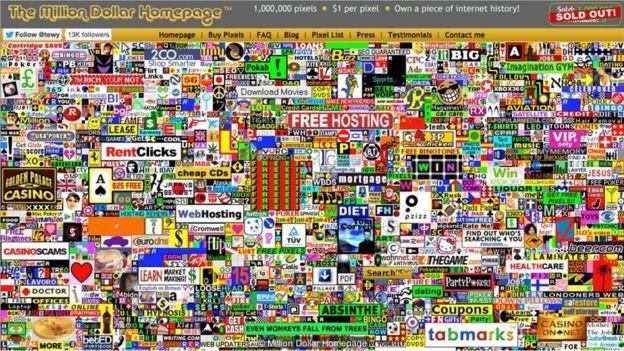 O Million Dollar Homepage agora está cheia de links para sites que não existem mais (Foto: Reprodução)