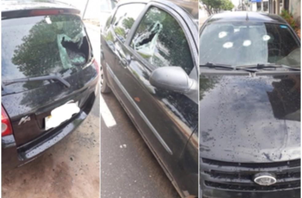 Carro da vítima com marcas de tiros (Foto: Arquivo pessoal)