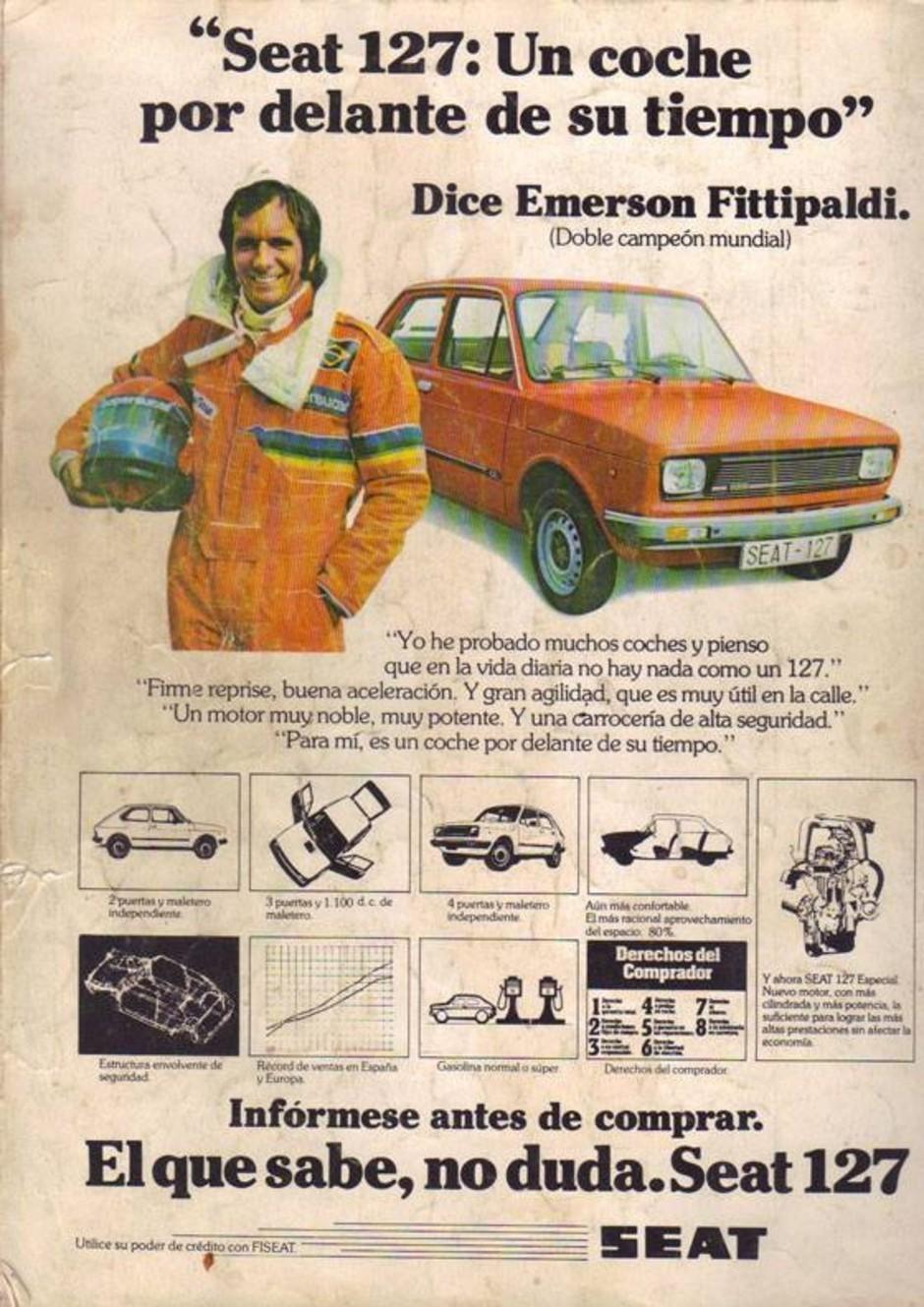 Emerson Fittipaldi estrela propaganda para anunciar o Fiat 127: esta é a versão espanhola, da Seat (Foto: Reprodução)