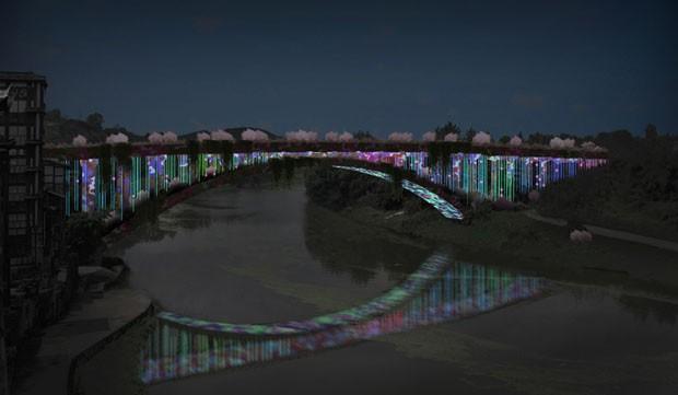Em cidade histórica da China, ponte é revitalizada com plantas e LED (Foto: Divulgação)