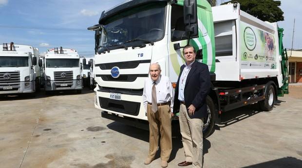 Apresentações dos novos caminhões elétricos (Foto: Reprodução/Estadão)