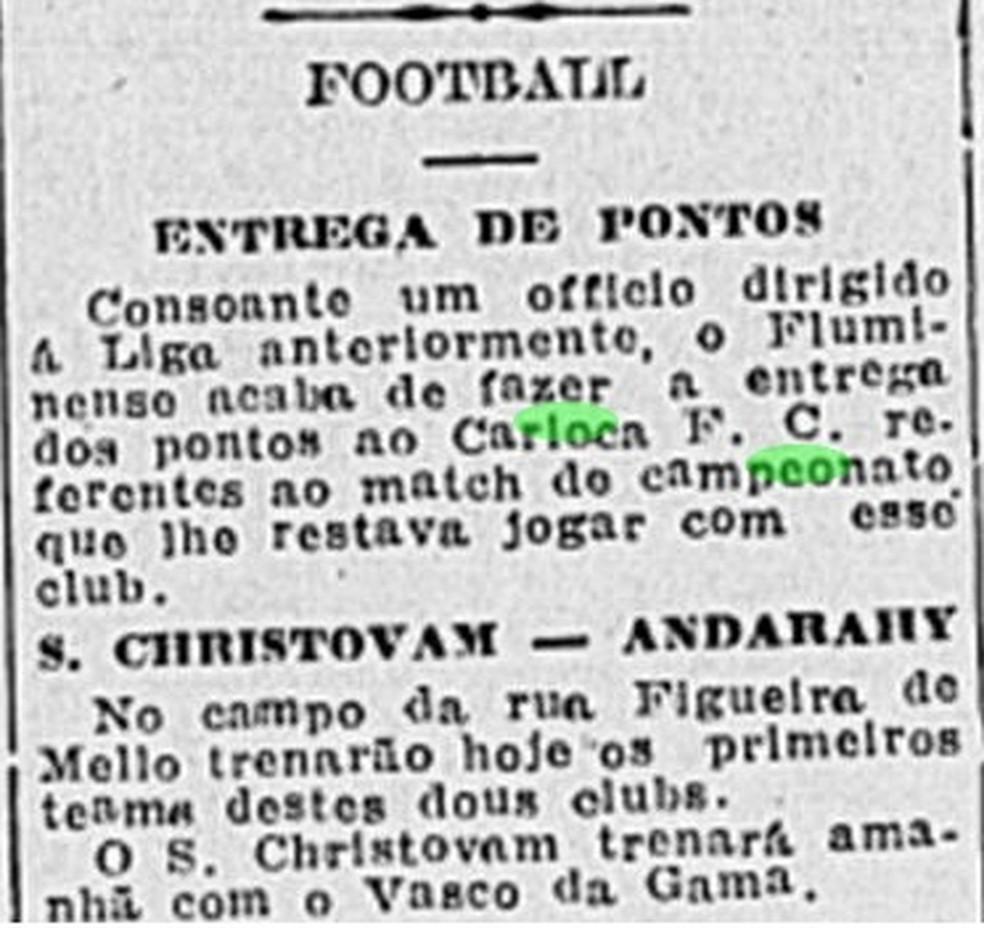 Já campeão, Fluminense não participa da última rodada do Estadual de 1918 — Foto: Reprodução/Jornal do Brasil