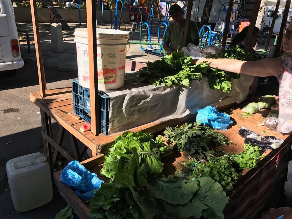 Poucos comerciantes têm hortaliças nas bancas para vender e preços estão muito altos (Foto: Bruno Albernaz / G1)