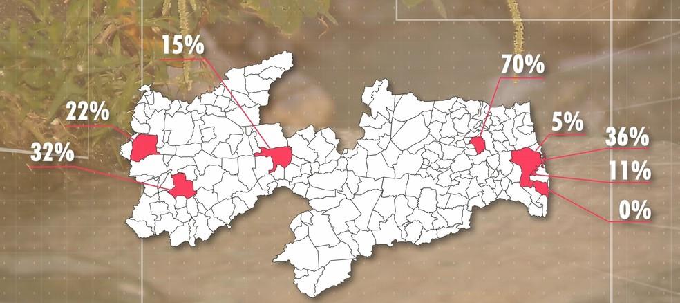 Situação das cidades em situações mais complicadas com relação ao esgotamento sanitário — Foto: TV Cabo Branco/Reprodução