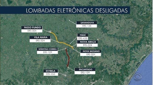 Lombadas desligadas em rodovias do  Rio Grande do Sul preocupam moradores
