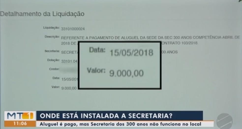 Contrato mostra valor pago por imóvel que não existe. — Foto: TVCA/Reprodução