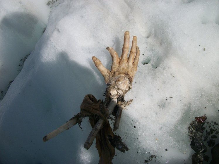 Mão perfeitamente conservada achada no gelo dos Alpes franceses