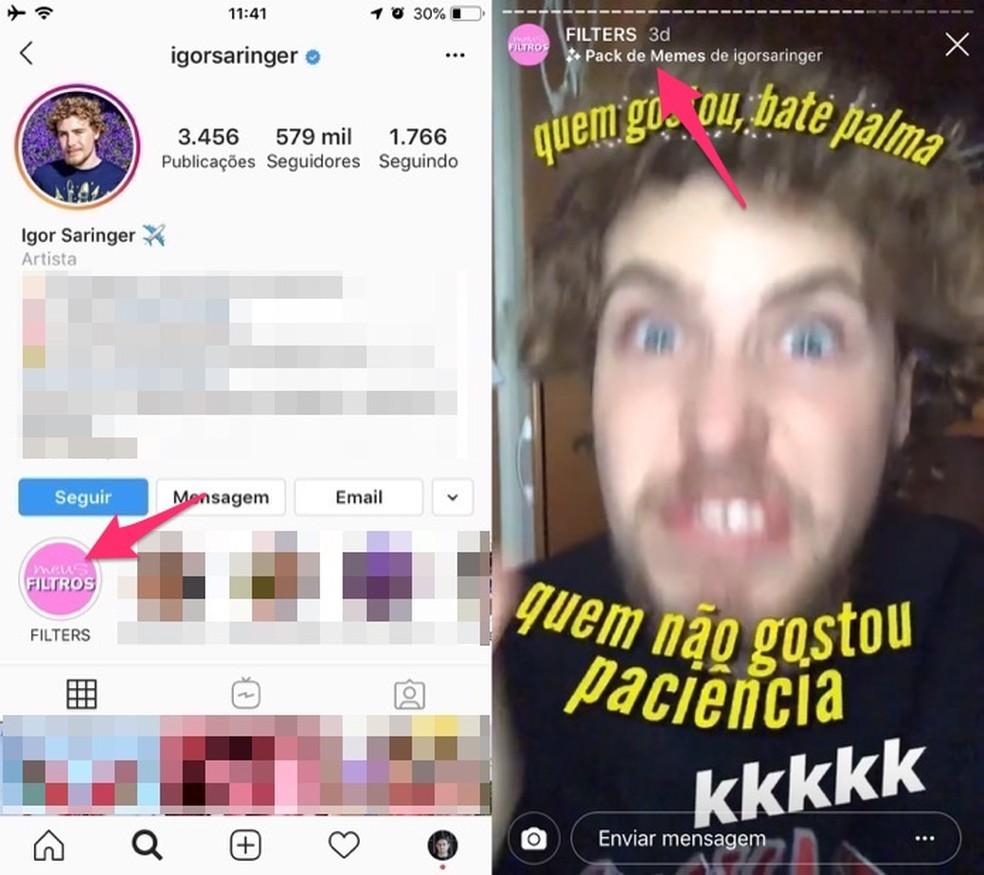 Ação para ativar o filtro de memes na câmera do Instagram Stories — Foto: Reprodução/Marvin Costa