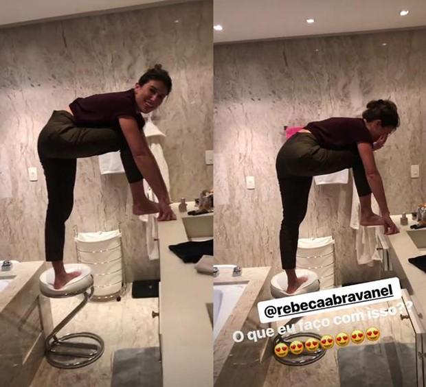 Alexandre Pato ri de Rebeca Abravanel com pavor de barata (Foto: Reprodução/Instagram)
