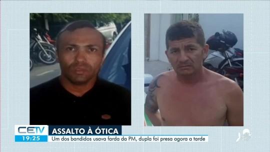 Bandido usa farda da PM para assaltar ótica no Centro de Fortaleza
