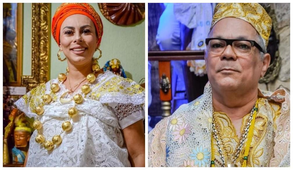 Yalase Gabriela de Yewa e seu pai biológico, Cido de Osun, babalorixá há 45 anos, estão à frente do Centro Cultural Eyin Osun, na Zona Leste de SP — Foto: Arquivo Pessoal/Divulgação