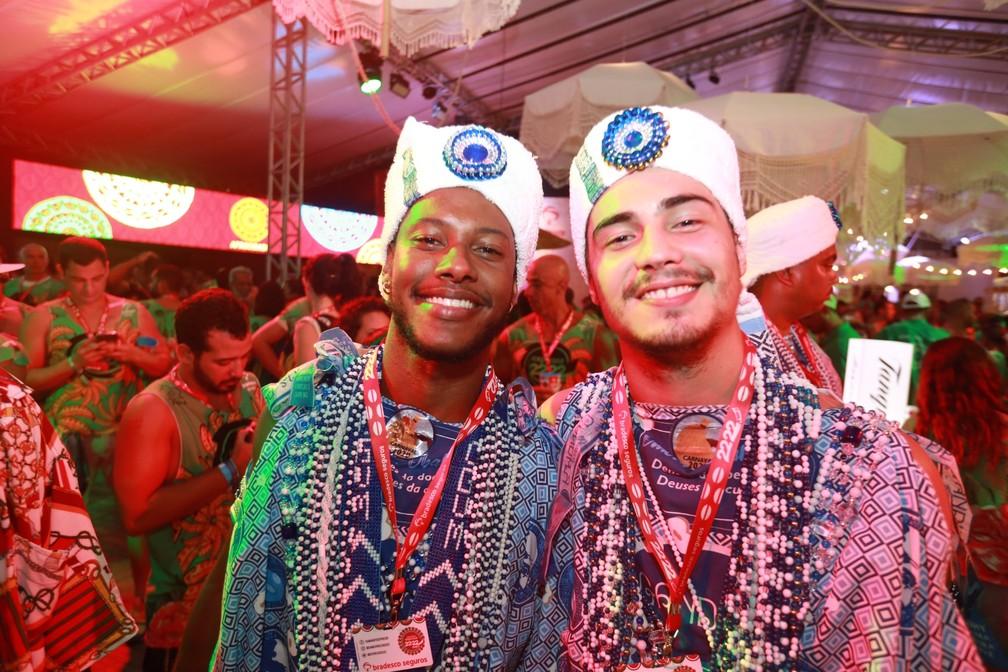 Dan Ferreira e Danilo Mesquita no Camarote Expresso durante carnaval de Salvador — Foto: Mauro Zaniboni /Ag Haack