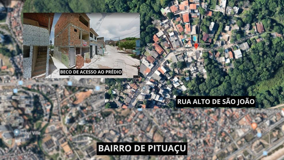 Montagem mostra o local do desabamento em Salvador (Foto: Reprodução / Google Maps / Google Street View)