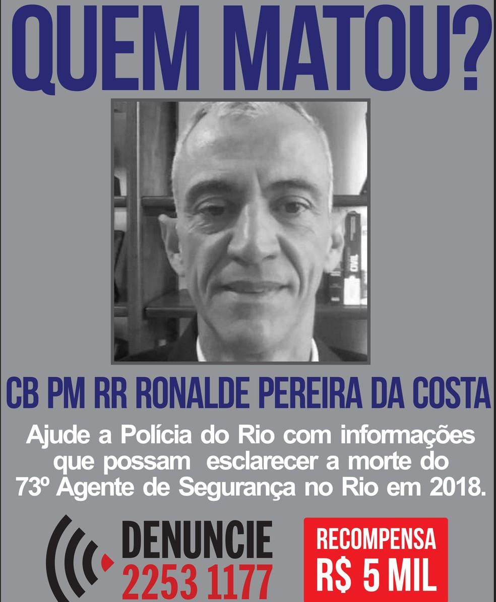 Disque Denúncia oferece recompensa de R$ 5 mil para informações que levem aos suspeitos de matar o PM Ronalde da Costa (Foto: Divulgação / Disque Denúncia)