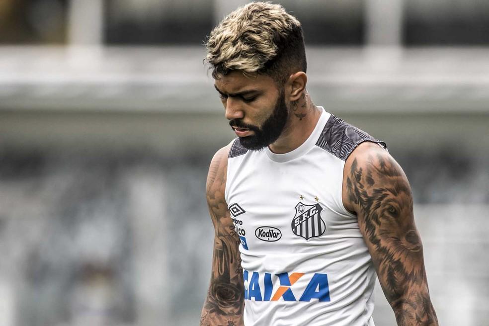 Gabriel é a primeira opção do Flamengo para o ataque. Clube aguarda sinalização da Inter — Foto: Ivan Storti/Santos FC