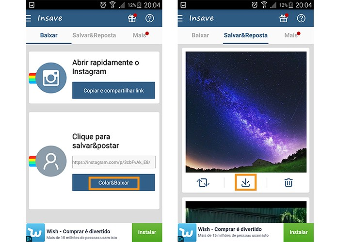 Baixe a foto ou vídeo para seu Android (Foto: Reprodução/Barbara Mannara)