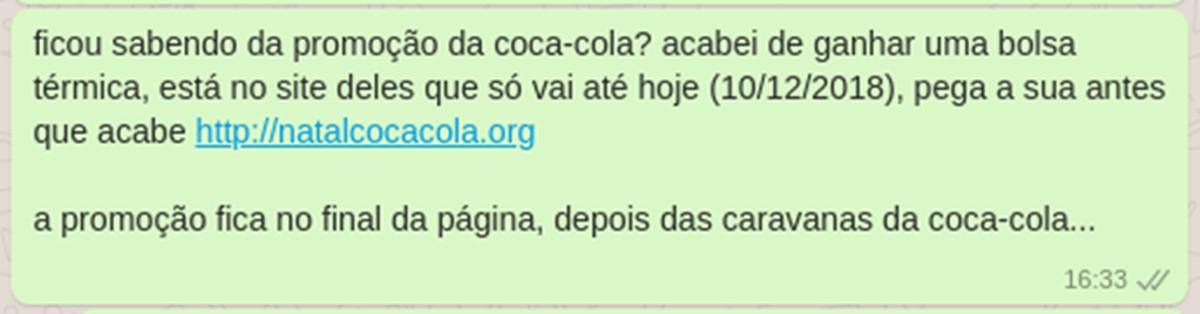 20d84ff839df9 Golpe no WhatsApp usa marca Coca-Cola para roubar dados das vítimas    Segurança   TechTudo
