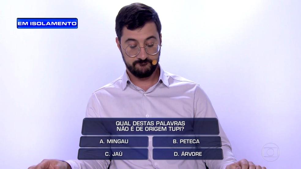 Felipe Ribeiro usou raciocínio lógico e conhecimento para gabaritar as perguntas — Foto: Globo